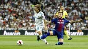 Modric y Rakitic, durante un partido de la pasada temporada.