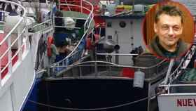 El barco de Ardines, atracado este viernes en el puerto de Llanes.