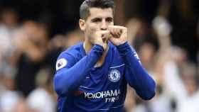 Álvaro Morata, celebra un gol con el Chelsea.