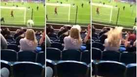 Una aficionada del Burnley recibe un pelotazo y ni se inmuta
