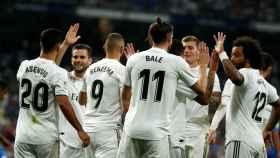 Los jugadores del Real Madrid, celebrando un gol ante el Getafe
