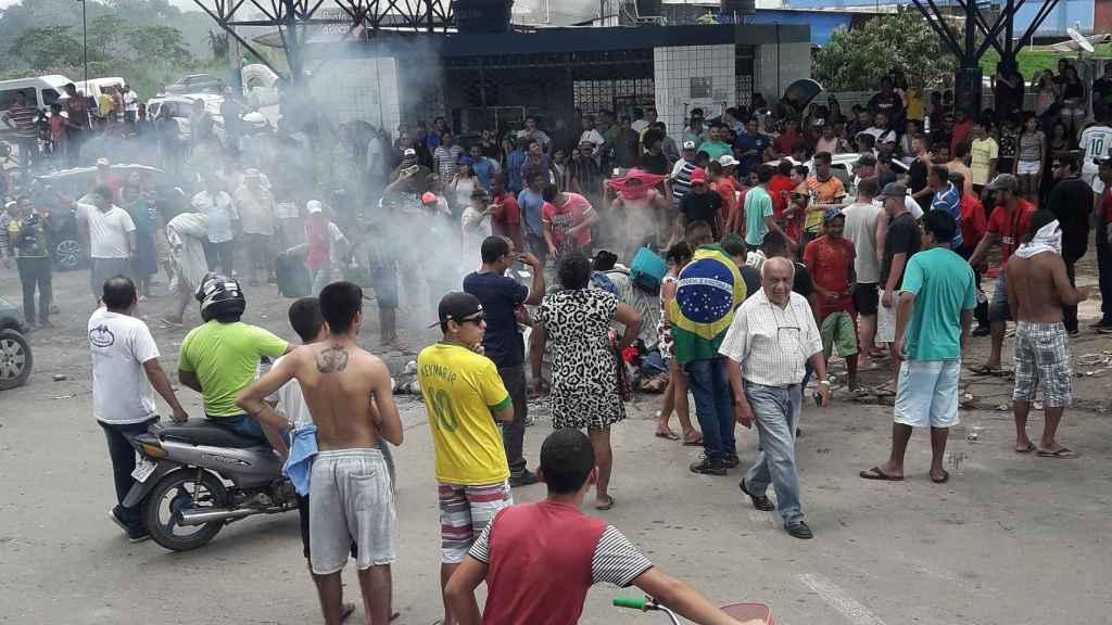 Punto de control de la frontera entre Brasil y Venezuela de Paracaima.