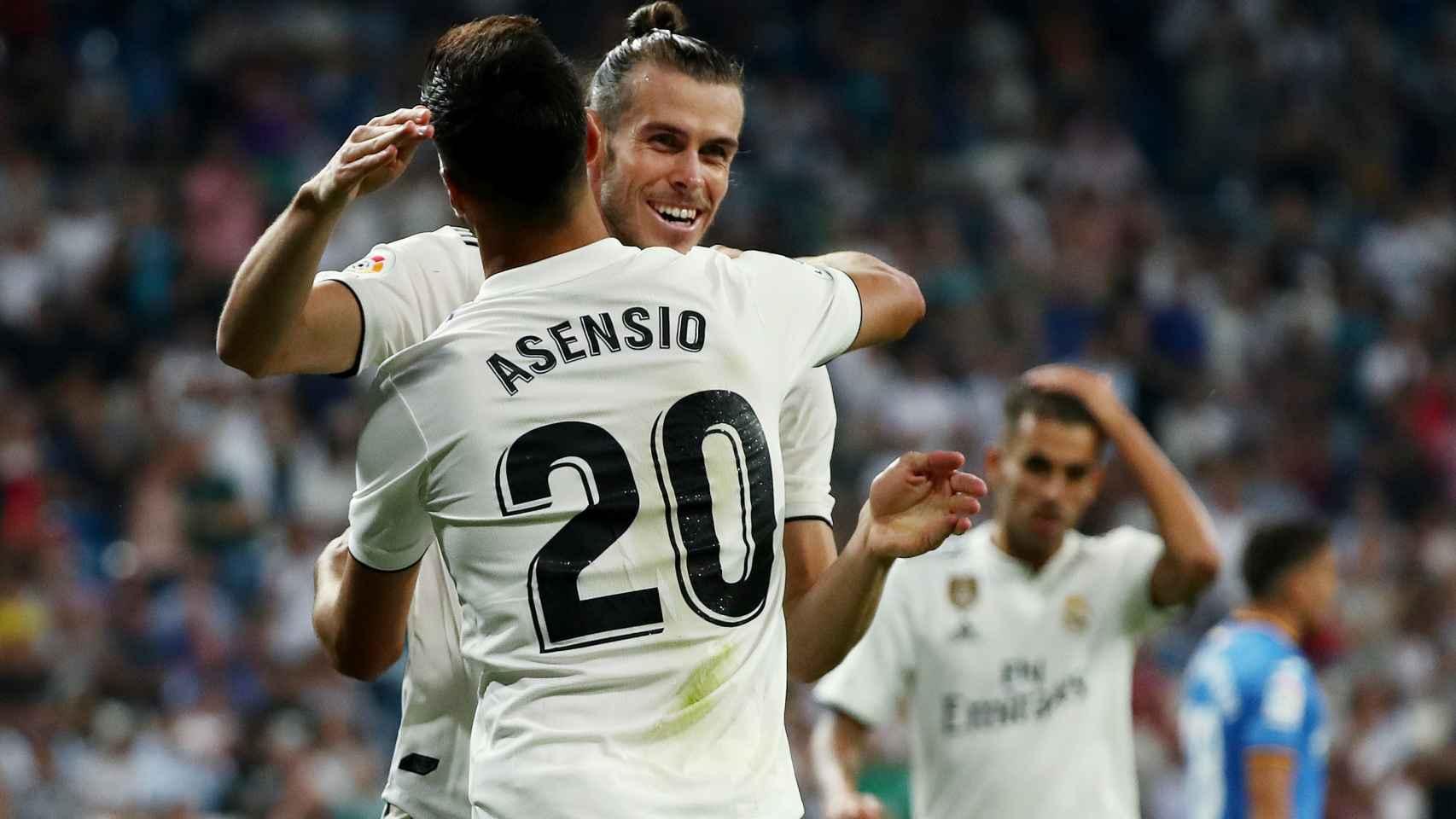 Gareth Bale y Marco Asensio celebran un gol del Real Madrid