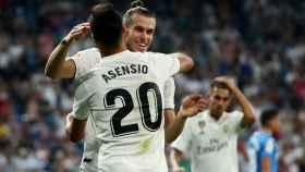 Gareth Bale y Marco Asensio celebran un gol del Real Madrid ante el Getafe