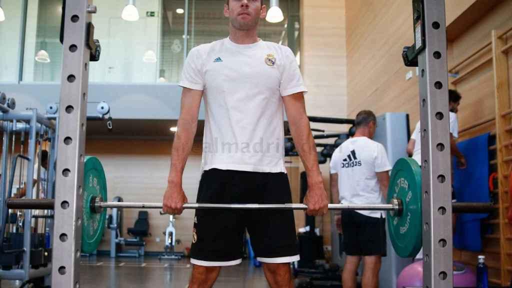 Causeur, durante un entrenamiento con el Real Madrid.