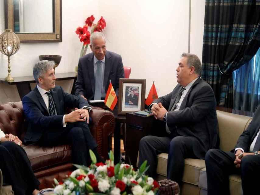 El ministro del Interior, Grande-Marlaska, reunido con su homólogo marroquí, Laftit.
