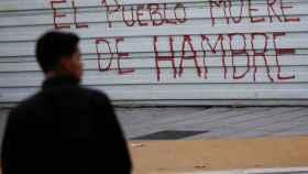 Pintada en un comercio de Caracas este martes