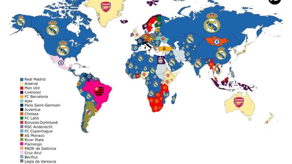 Los equipos de fútbol más buscados en Internet según países. Foto: JD Sports