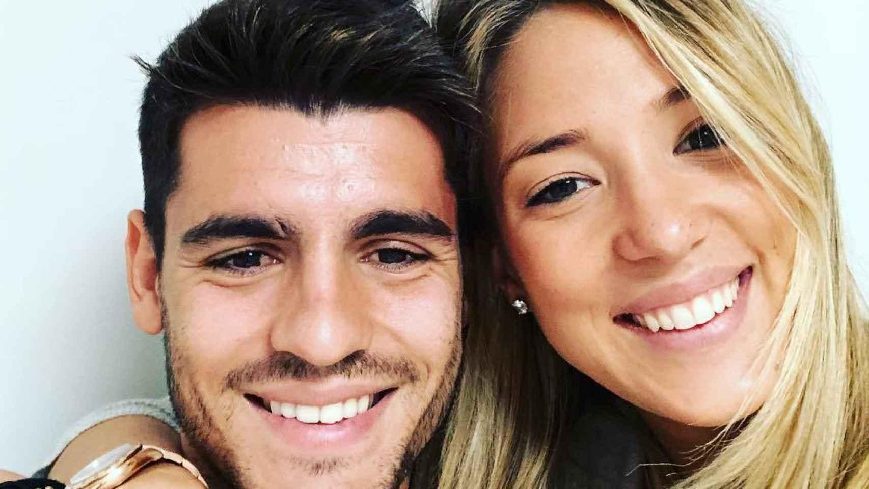 Morata, en una foto con su mujer Alice Campello.