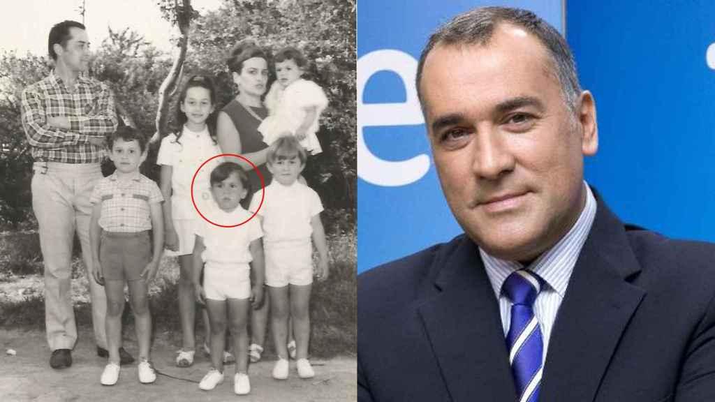 Xabier Fortes (el pequeño en primer plano)  y su familia.