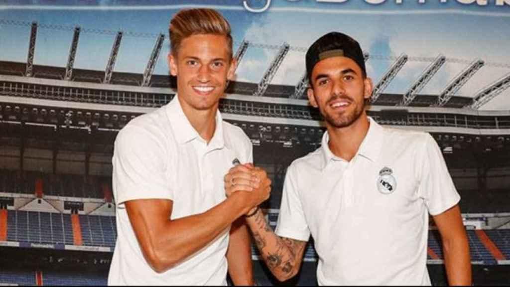 Ceballos y Marcos Llorente, en la firma antes del Girona - Real Madrid