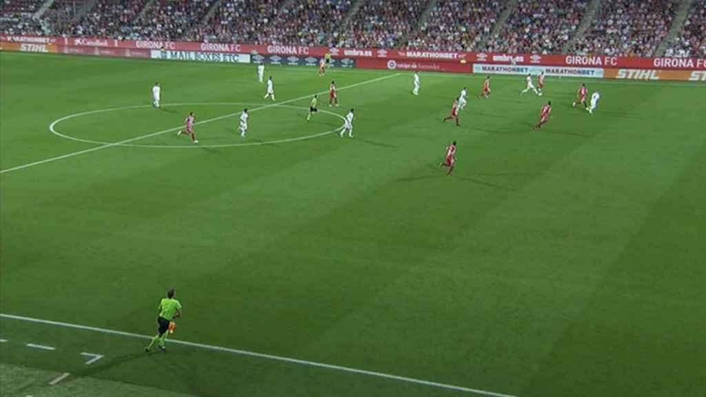 Gol anulado a Karim Benzema ante el Girona