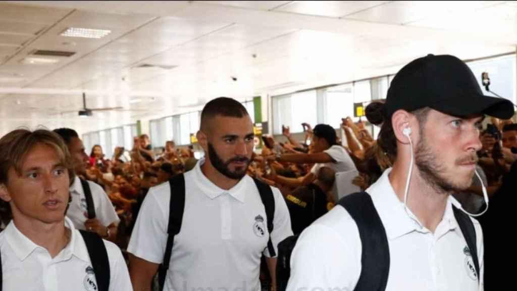 Los jugadores del Real Madrid a la llegada a Gerona