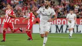 Karim Benzema, celebra un gol al Girona