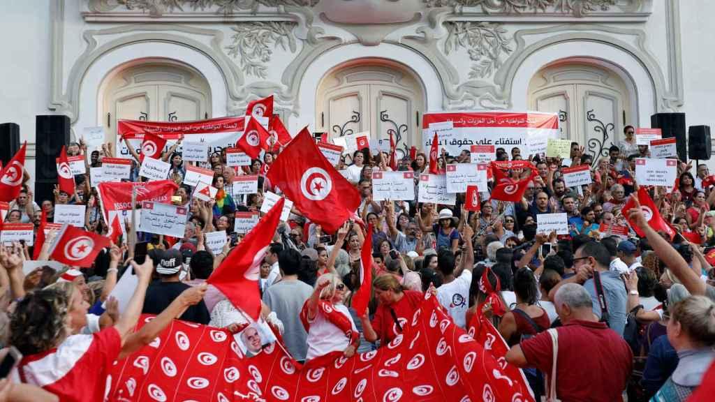 Protestas en Túnez el 13 de agosto, día en que se celebran los derechos de la mujer.