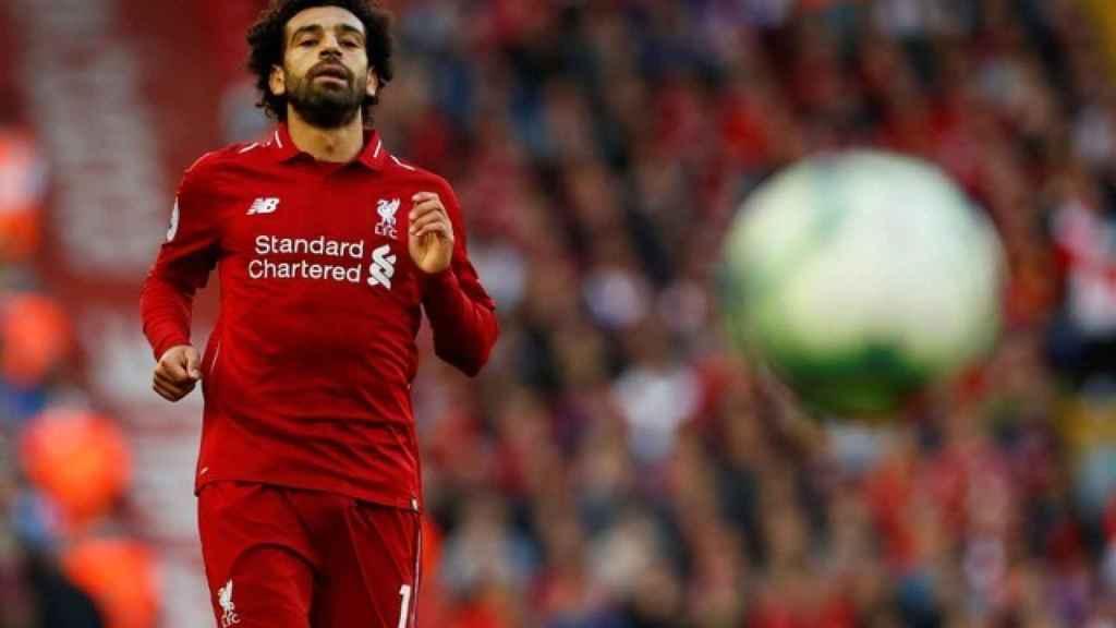 Salah durante un partido de la Premier League