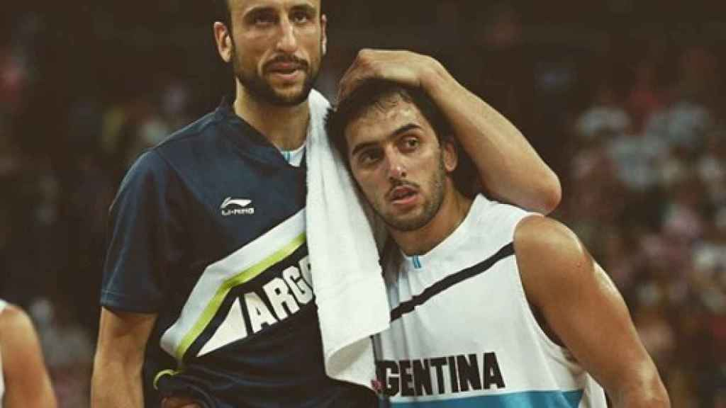 Campazzo y Ginobili con la selección argentina. Foto: Twitter. (@facucampazzo)
