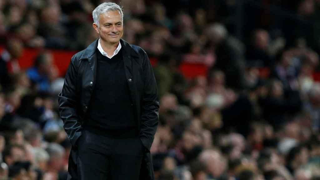 Mourinho, durante un partido del Manchester