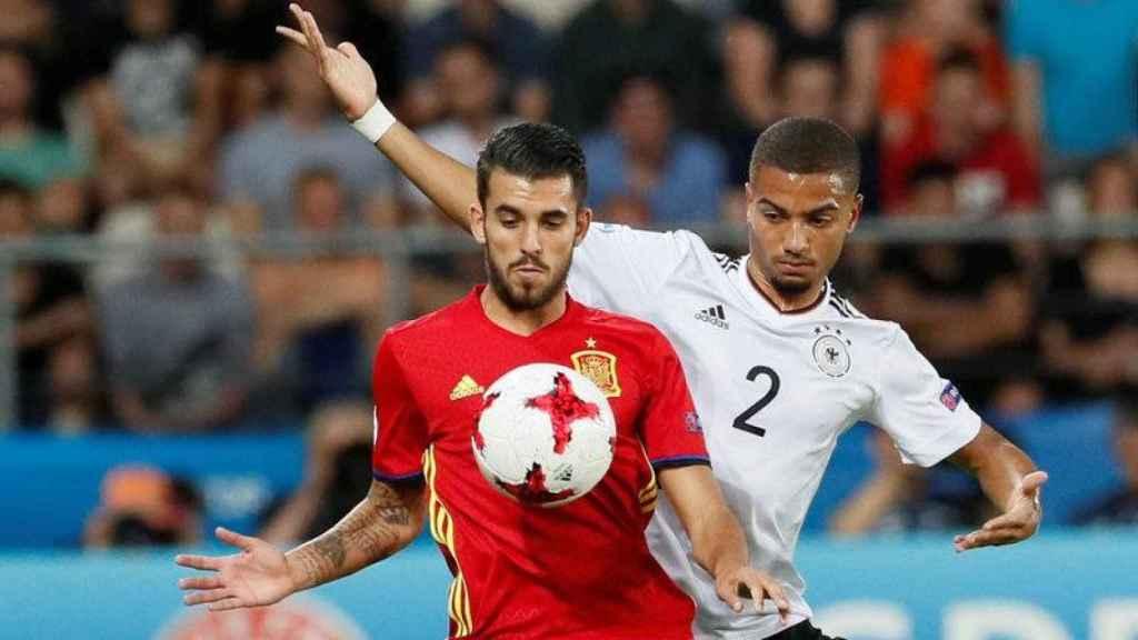 Ceballos en un partido con la Sub21 ante Alemania