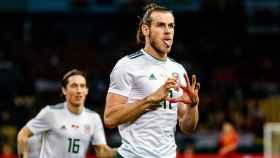 Bale celebra un gol con Gales
