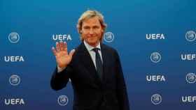Pavel Nedved en la ceremonia de sorteo de la fase de grupos de la Champions League