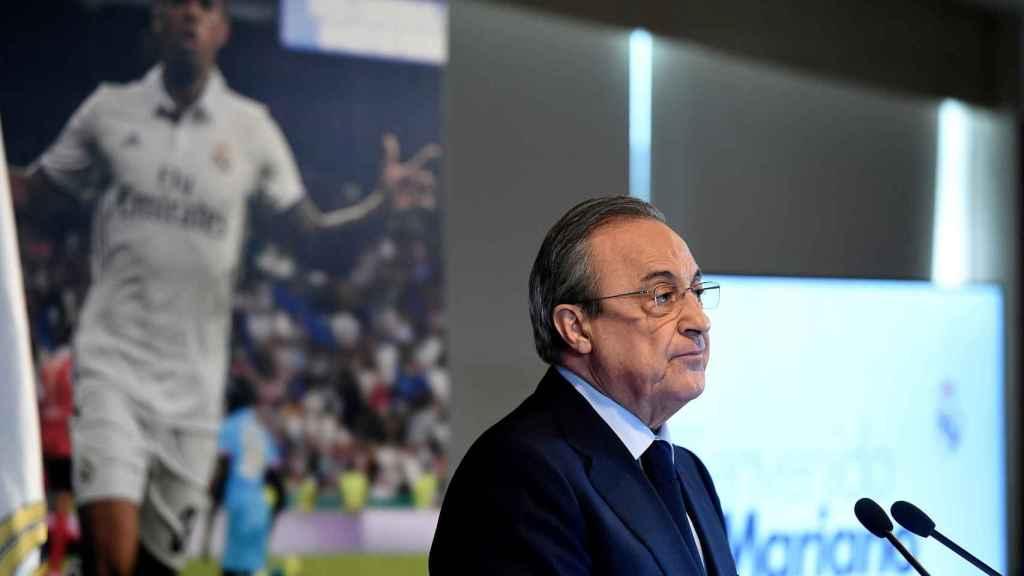 Florentino Pérez, durante la presentación de Mariano con el Real Madrid