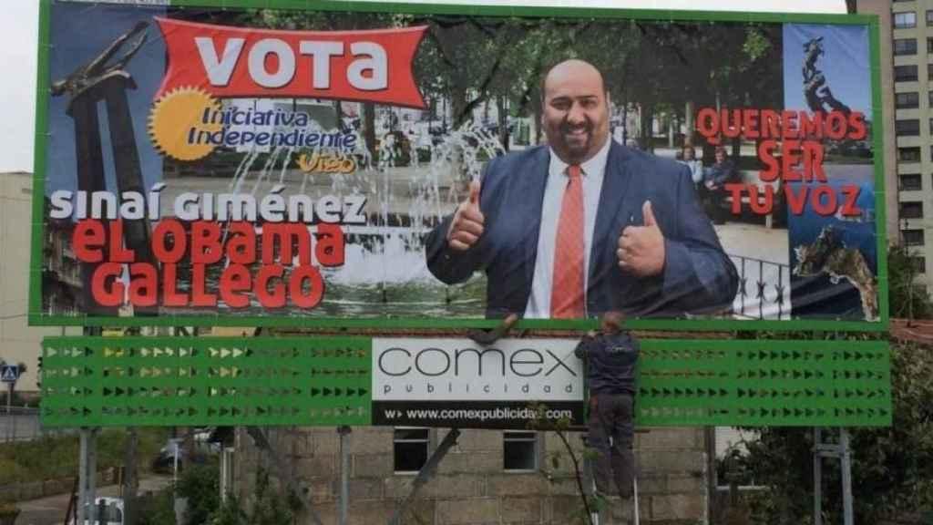 Sinaí Giménez en el cartel electoral de las elecciones de Vigo en 2015.