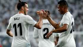 Casemiro y Bale celebran un gol del galés