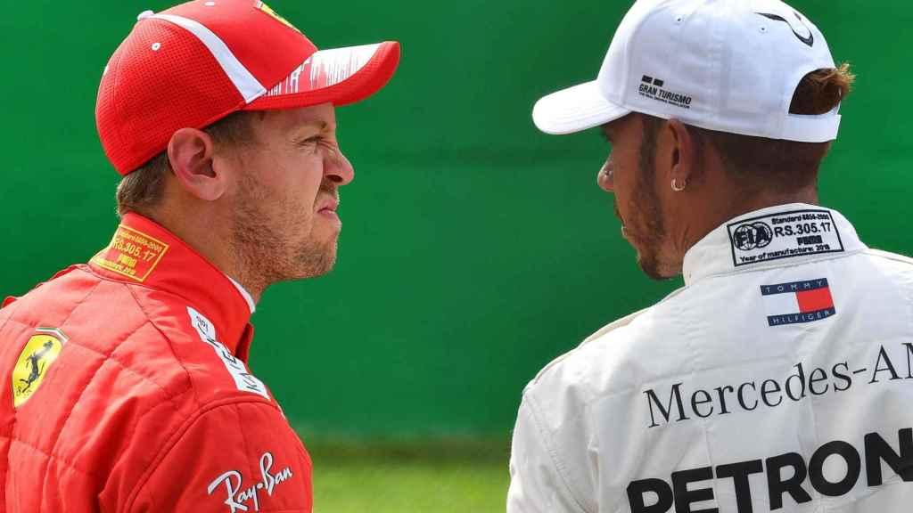 Vettel y Hamilton, durante un Gran Premio de esta temporada.
