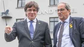 Carles Puigdemont y Quim Torra, tras su reunión en Waterloo (Bélgica).