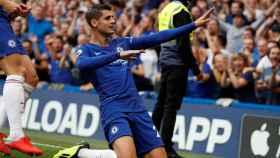 Morata celebra su gol al Arsenal en Stamford Bridge