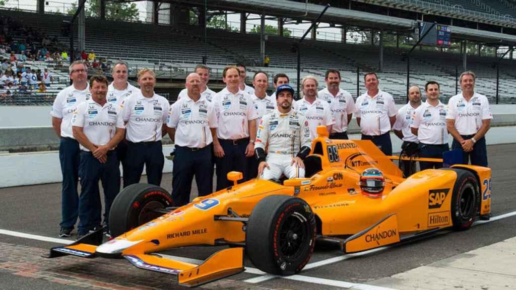 Fernando Alonso, durante las 500 millas de Indianapolis