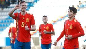 Los jugadores de la selección española Sub21 celebran un gol. Foto: Facebool (@SeFutbol)