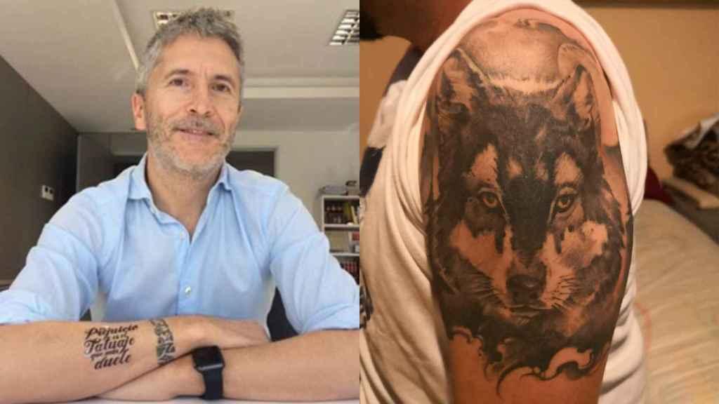 El tatuaje del ministro Marlaska y el de Raúl Lobato, Guardia Civil.