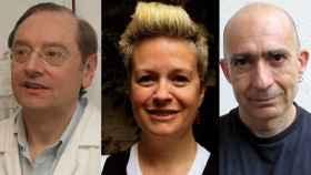 Los investigadores Ramón Mangues, Esther Vázquez y Antonio Villaverde.