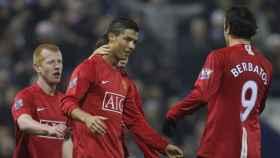 Cristiano Ronaldo celebra un gol durante su etapa en el Manchester United. Foto: manutd.com