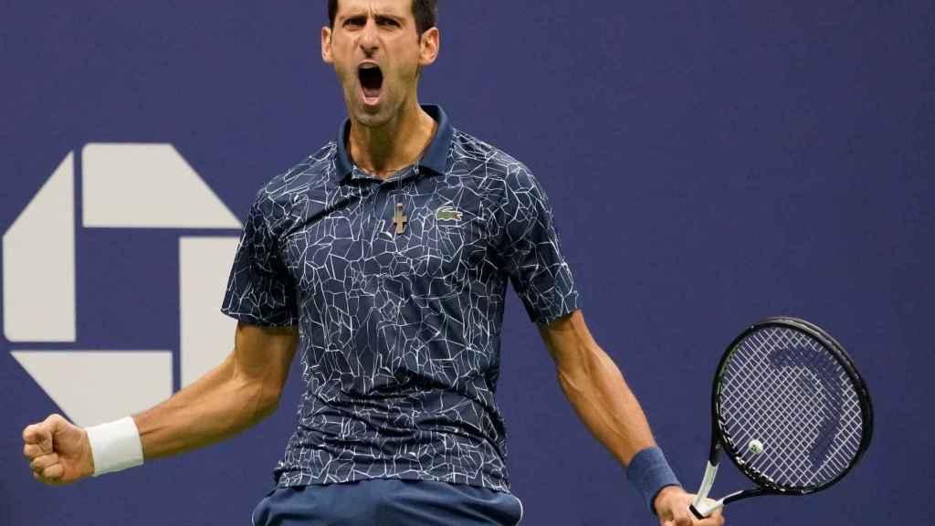 Djokovic celebra un punto en la final del US Open.