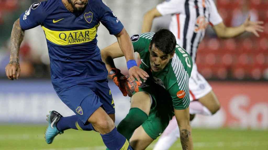 Tevez, en un partido con Boca Juniors
