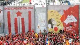 Imagen del muro construido por ANC para la manifestación independentista.