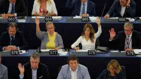 La Eurocámara, durante la votación de la reforma de la directiva copyright