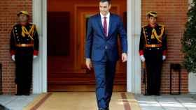 El presidente del Gobierno, Pedro Sánchez, este miércoles en el palacio de la Moncloa.