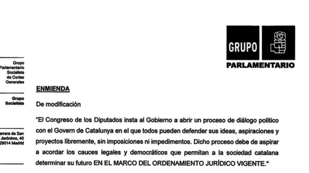 La moción, tal y como ha sido enmendada por el PSOE, que el Congreso aprueba este miércoles.