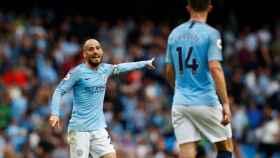 Silva, en un partido con el Manchester City.