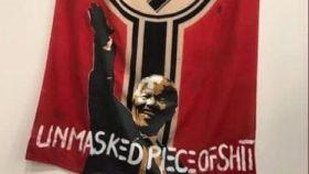 La polémica obra del artista Mabulu: Mandela haciendo el saludo nazi.