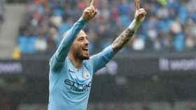 Silva celebra un gol con el City.