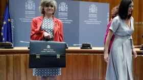 La nueva ministra de Sanidad,  María Luisa Carcedo, en su toma de posesión.