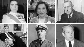 De izquierda a derecha y de arriba abajo: Carrero Blanco, Carmen Polo, Arias Navarro, Tomás y Valiente, el dictador Trujillo y Joaquín Calvo Sotelo.