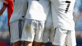 Piña del Castilla celebrando un gol