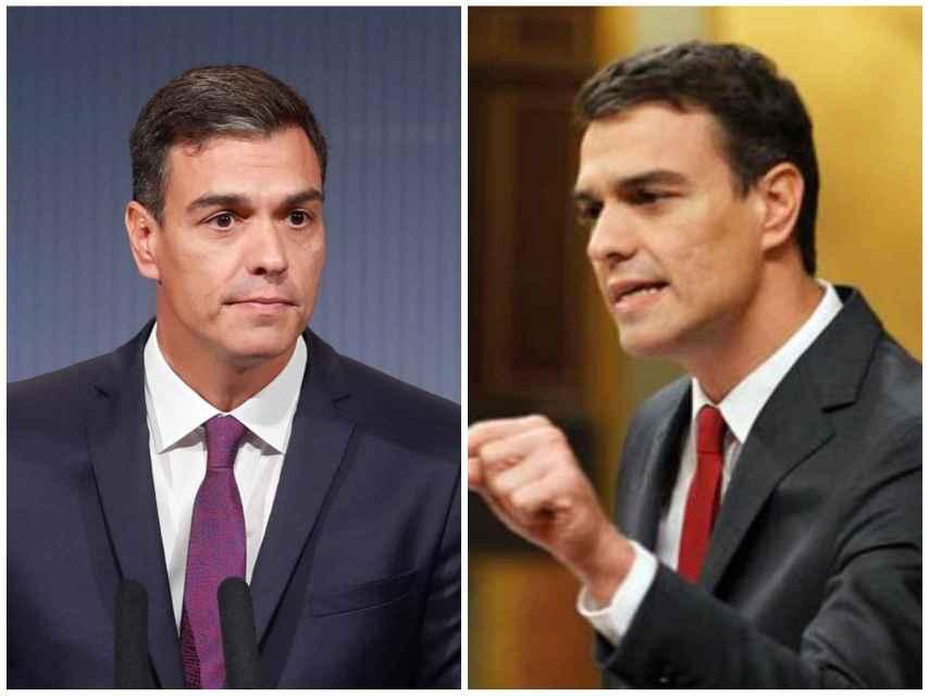 Pedro Sánchez a la izquierda en su último acto público. A la derecha, el día de la moción de censura.