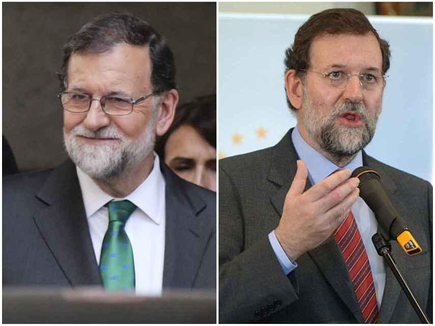 A la izquierda, Mariano Rajoy el día de la moción de censura. A la derecha, el gallego en un mitin de 2006 antes de ser presidente.